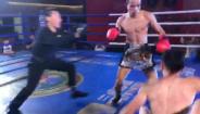 来自强身搏击专业队的拳手朱正亮30秒内连续重击击倒对手,KO获胜!!